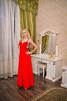 Вечернее платье красное с камнями по бокам