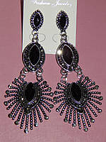 Серьги восточный стиль, черные и серые камни, застежка гвоздик 000623
