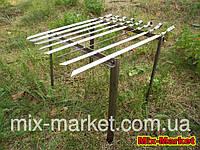 Мангал подставка на 8 шампуров из нержавеющей стали + 8 шампуров