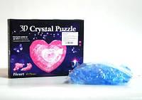 """YJ 6816 3D кристалл пазл """"Сердце"""" (прозрачное голубое) без подсветки"""