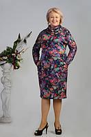 Батальное платье  воротник-хомут в цветочный принт