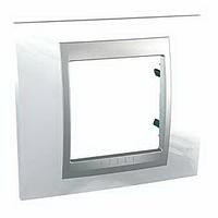 Рамка однопостовая 2-модульная белоснежный/алюминий Schneider Electric Unica Top (MGU66.002.092)
