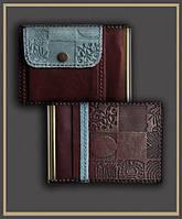 """Зажим для денег с карманом для мелочи из натуральной кожи """"Синева"""""""