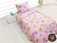 Детское постельное белье Губка Боб  полуторное хлопок бязь розовое