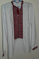 Котоновая рубашка с бордовой вышивкой SAM 0704