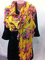 шарф палантин с яркой расцветкой из хлопка можно использовать как парео жатка на резинке хлопок