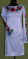 Платье вышитое атласное с длинным рукавом SAM 0728