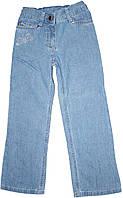 Джинсы прямые для девочки, голубые со стрекозой, рост 110 см, ТМ Бемби