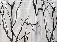Тюль органза черное и белое дерево