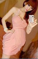 Коктейльное женское однотонное трикотажное платье