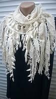 нарядный шарф  ажурной вязки с бахромой  цвет светло-бежевый