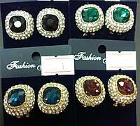 Серьги 012674 камни в разных цветах