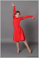 Бейзик красный детский с гипюровыми бочками