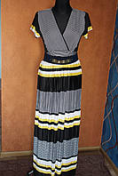 Чудесное платье в пол с поясом, универсальный размер 46-54, Турция