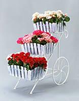 Кованная подставка для цветов Тачка Кантри 3