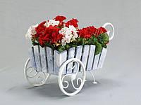 Кованная подставка для цветов Тачка Лебедь Кантри