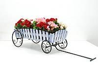 Кованная подставка для цветов Телега Кантри