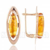 Золотые серьги с янтарем 25349