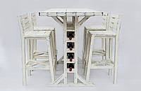 Кухонный гарнитур винный стол + 4 барных стула, дерево, авторская работа.
