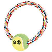 """Игрушка """"Мяч теннисный на веревочном кольце"""" для собак"""