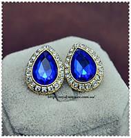 """Серьги """"Слезинка"""" позолоченные, с синими кристаллами."""