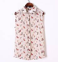 Легкая блузка с собачками
