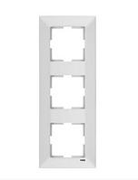 Рамка 3-местная вертикальная белая, крем Viko Meridian
