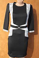 Элегантное деловое платье с гипюром, р.М - 44