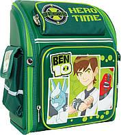 "Ранец шк. ""Бен 10"" тёмно-зелёный, тв./спин."