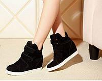 Ботиночки сникерсы черные замшевые Д360
