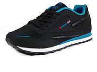 Кроссовки Reebok Classic Jogger, мужские, комбинированные, черные/ голубые/ белая подошва, фото 1