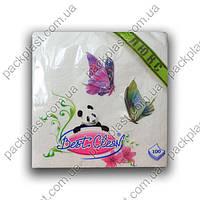 Салфетка бумажная Best Clean 100шт/уп, 33x33, 1-х слойная, 100% целюлоза.