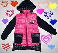 Стильная куртка-жилетка с вязанными рукавами 6,7,8,9 лет