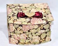 Красивая шкатулка для украшений тканевая с зеркалом 2 - ярусная