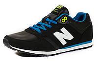 Кроссовки New Balance 420 мужские черные/ голубые/ белая подошва, фото 1