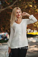 Блузка шифоновая молочного цвета 3005