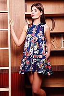 Туника-платье Лайма б/р темно синяя с цветочным принтом 4 из стёганого дайвинга расклешённая на м