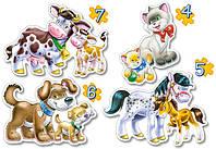 Пазл 4 в 1  Макси Домашние животные и их детки 04096 Castorland