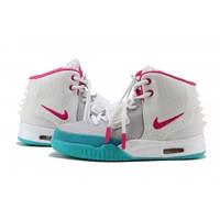 Nike Air Yeezy 2 бело-голубые / женские кроссовки / кожаные / весна-осень