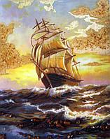Картина из янтаря. Панно Парусник.