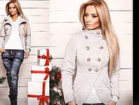 Пиджак трикотажный выполнен под пальто в 2 цветах декорирован пуговицами 719
