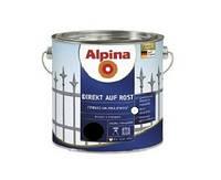 Эмаль алкидная ALPINA DIREKT AUF ROST антикоррозионная, RAL9005 - черный, 2,5л