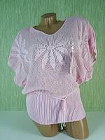 Кофта вязаный цветок AJ-1205 (розовый)