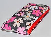"""Сумочка к телефону  LGD-L-1026A-TZ  """"Цветы розовые тоны с камнями""""."""