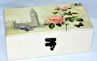 Шкатулка для хранения пакетированного чая и специй деревянная Прованс