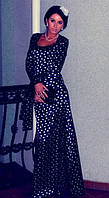 Платье макси в горошек с декольте