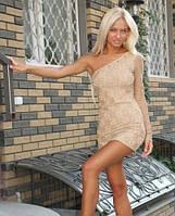 Платье гипюровое с одним рукавом