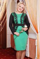 Трикотажное платье ярко-зеленое есть БОЛЬШИЕ РАЗМЕРЫ 52,54 полномерки