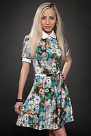 Молодежное шифоновое платье в цветы