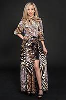 Стильное шифоновое платье  с золотистой пряжкой по талии
